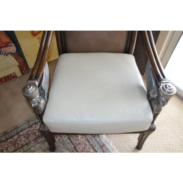 Egyptian Revival Cane and Leather Armchair With Sphinx Arms For Sale In Palm Springs - Image 6 of 10
