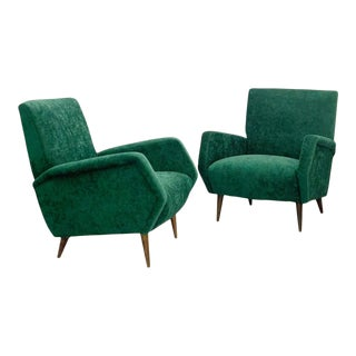 1950s Gio Ponti Green Velvet Armchairs Model 803 for Cassina - a Pair For Sale