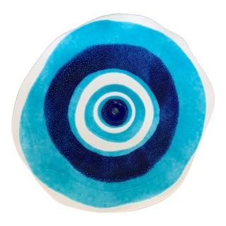 Modern Mediterranean Handmade Glazed Pottery Platter, Evil Eye 1 For Sale