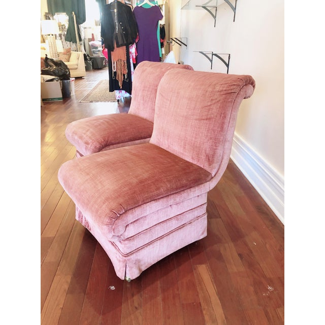 Hollywood Regency Curvilinear Pink Slipper Chairs- Pair For Sale - Image 3 of 13