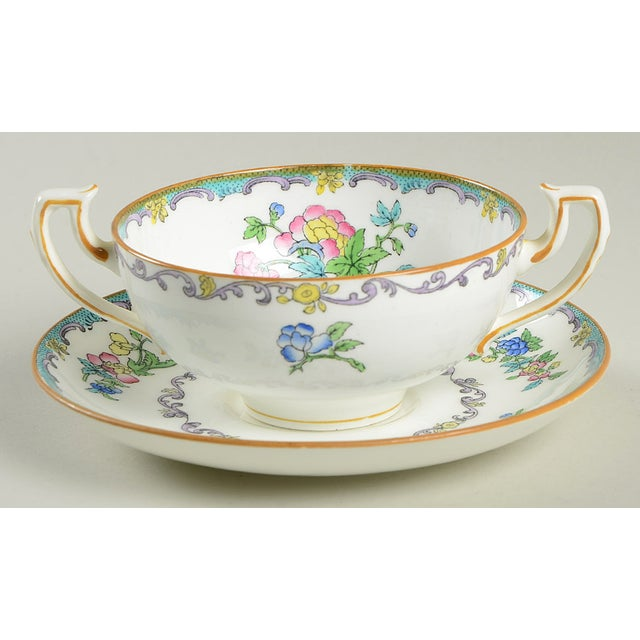 Early 20th Century Minton Double Handled Footed Bowl and Saucer - Set of 6 For Sale - Image 5 of 13