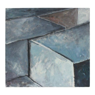 Jack Freeman Large Geometric Abstract in Blue and Gray, 2004 For Sale