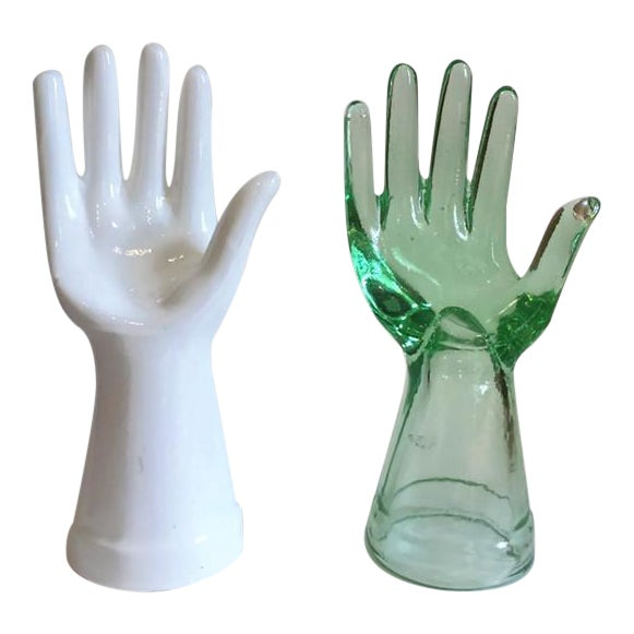 Vintage Glass Hand Statues Display Decor Jewelry Stands - A Pair - Image 1 of 11