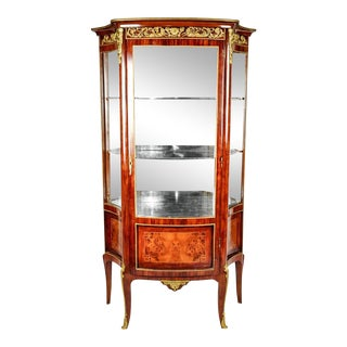 Sand Burl Wood Mahogany Hutch Cabinet / Vitrine For Sale