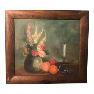 1950s Still Life Painting in Rustic Frame For Sale
