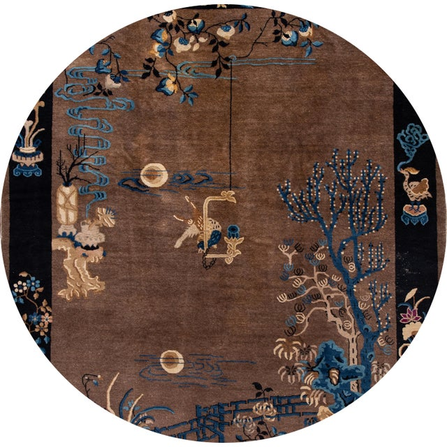Beautiful antique Chinese Art Deco rug, hand-knotted wool with a brownfield, navy-blue frame in a subtle all-over Classic...