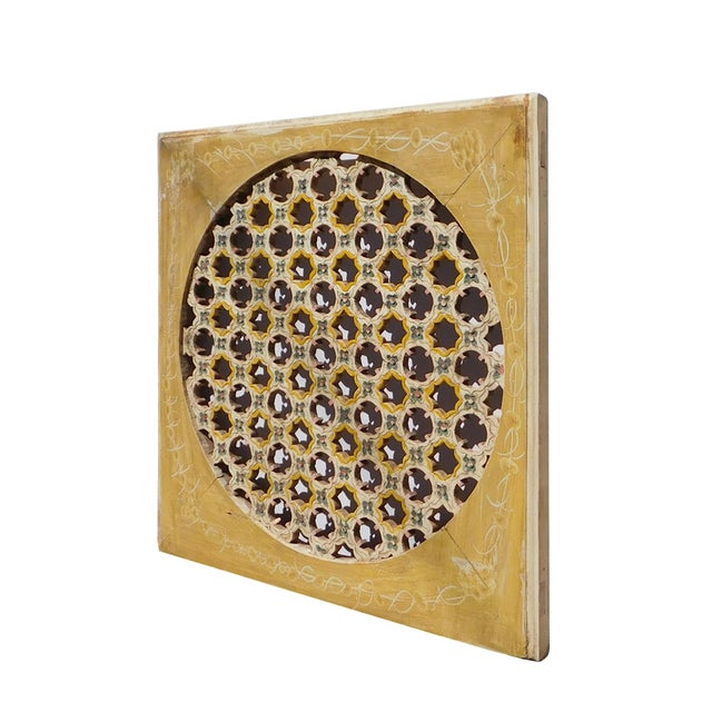 Asian Chinese Rustic Flower Star Geometric Wood Panel For Sale - Image 3 of 6
