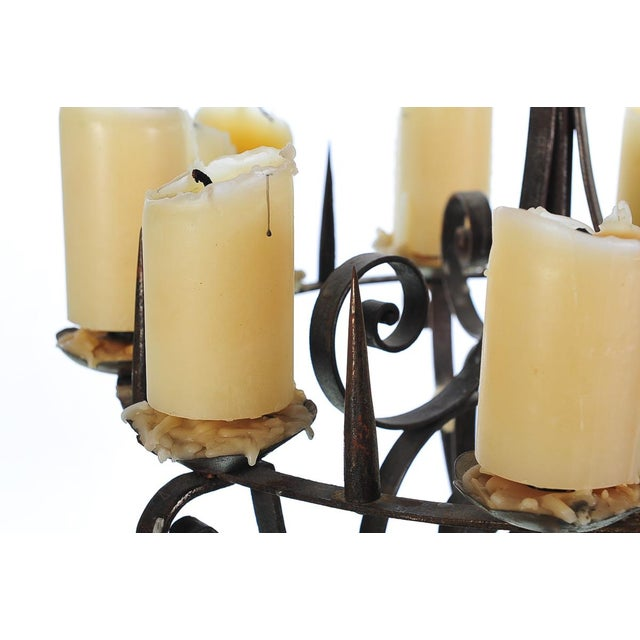 Spanish Revival Wrought Iron 8 Arm Candle Holder For Sale In Los Angeles - Image 6 of 10