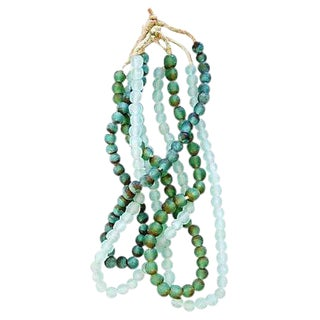 Green & Ice Sea Glass Bead Strands - Set of 4 For Sale