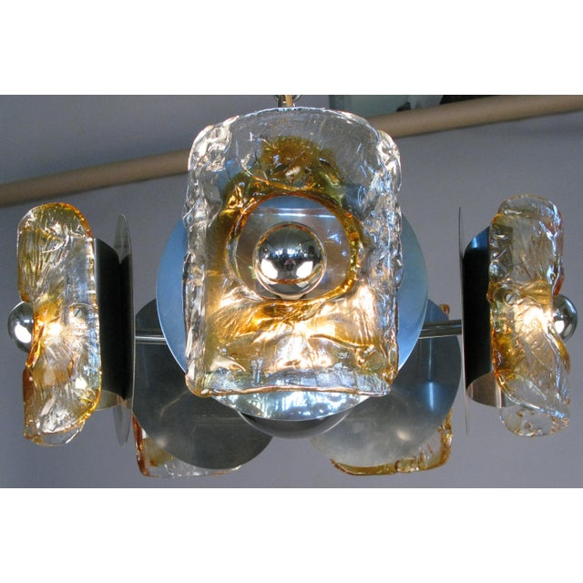 1960s Italian Glass & Chrome Murano Chandelier For Sale - Image 9 of 9