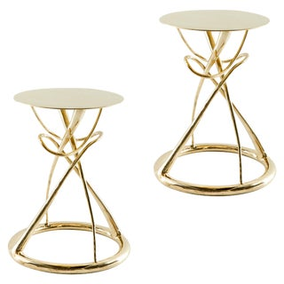 Pair of Brass Gueridon Table, Gordian Node, Misaya For Sale