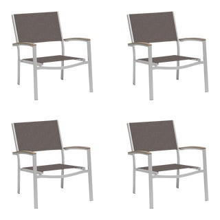 Outdoor Sling Lounge Chair, Vintage and Cocoa (Set of 4) For Sale