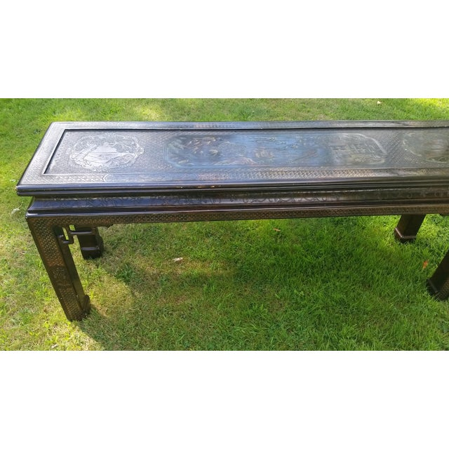 John Widdicomb Asian Carved Console Table For Sale - Image 9 of 10