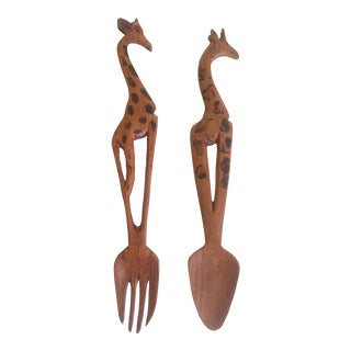 Vintage Mid Century African Hand Carved Kenyan Teak Wood Giraffe Salad Serving Utensils - 2Pc Set