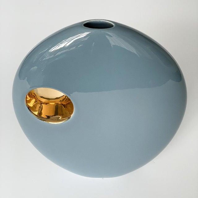 Gold Jaru Blue and Gold Sculptural Ceramic Vase For Sale - Image 8 of 13