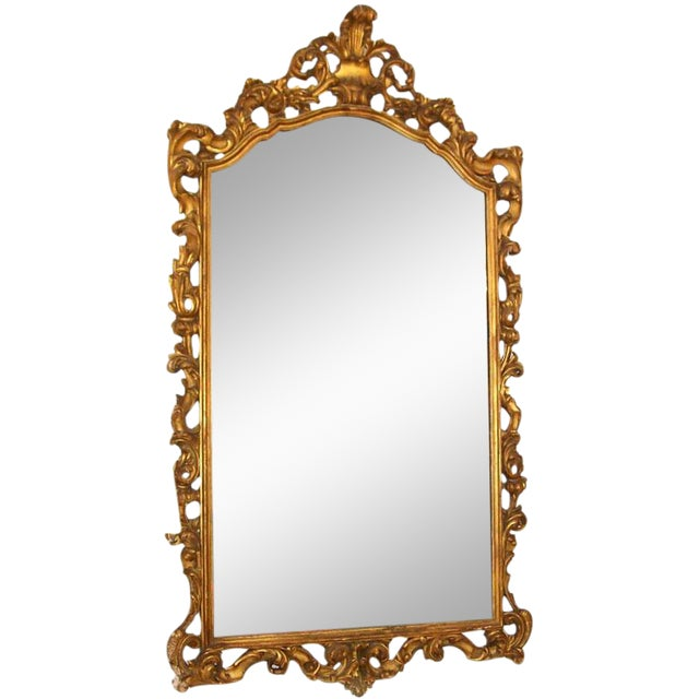 Gold Gilt Carved Wood Palatial Mirror For Sale