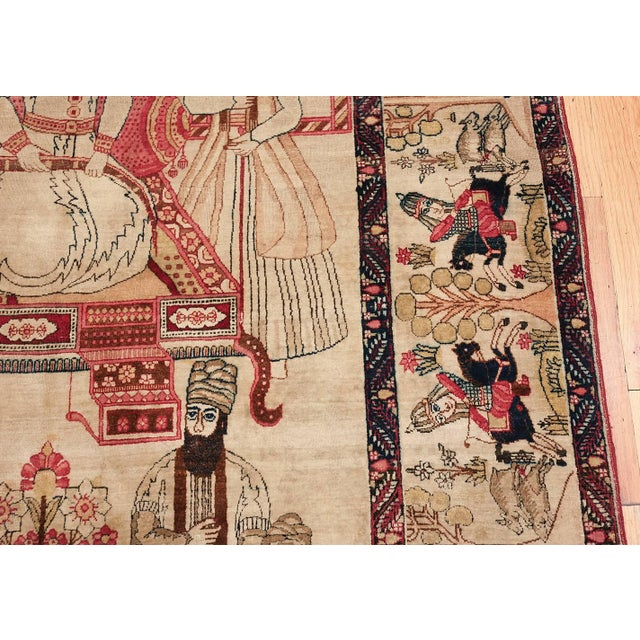 Pictorial Antique Persian Kerman Rug - 4′8″ × 7′6″ For Sale - Image 4 of 13