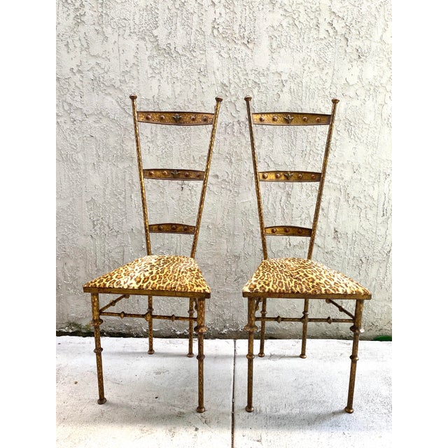 Gold Cheetah Print Giacometti Style Chairs - a Pair For Sale - Image 11 of 11