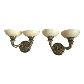 Pair of Double Arm Bronze Alabaster Sconces For Sale