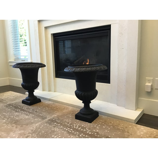20th Century French Classical Black Cast Iron Urns - Set of 3 For Sale - Image 4 of 13