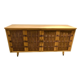 Italian Mid Century Modern Cabinet With Woven Reed Doors For Sale