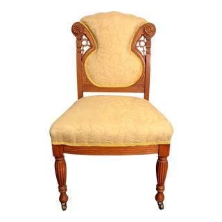 Buttercream Charles Lock Eastlake Styled Carved Victorian Era Accent Chair For Sale