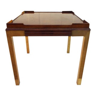 Drexel Heritage Burl Wood Gloss and Brass Side Table