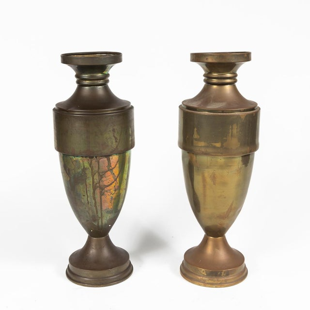 Brass Urn or Vase With Dark Bronze-Like Patina on Weighted Base For Sale - Image 4 of 6