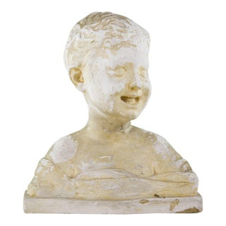 Antique Plaster Cherub Bust