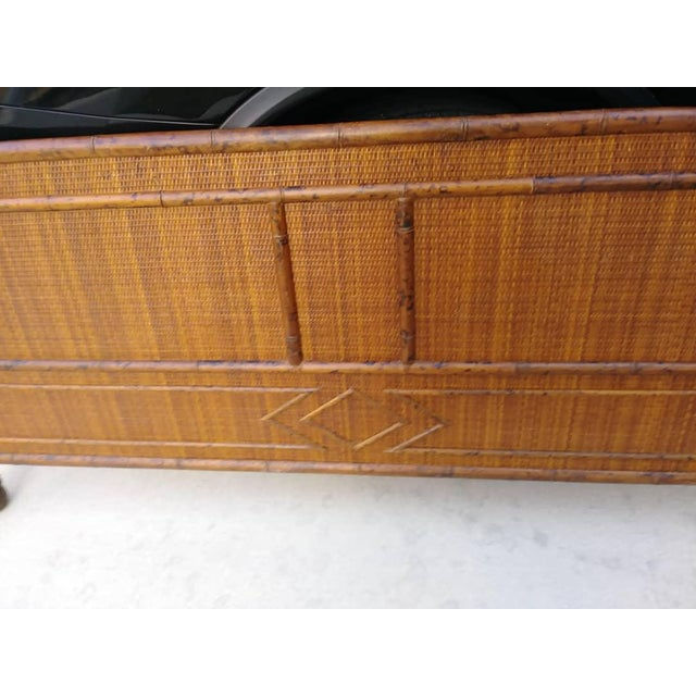 Boho Chic Palm Beach Regency Vintage Queen Size Faux Burnt Bamboo and Weaved Rattan Bed Frame Headboard For Sale - Image 3 of 8