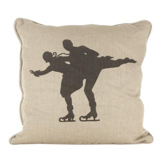 Skaters Silhouette Linen Pillow For Sale