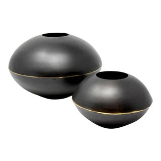 AURA LONDON Val Large Chestnut Brown Domed Vase - A Pair For Sale