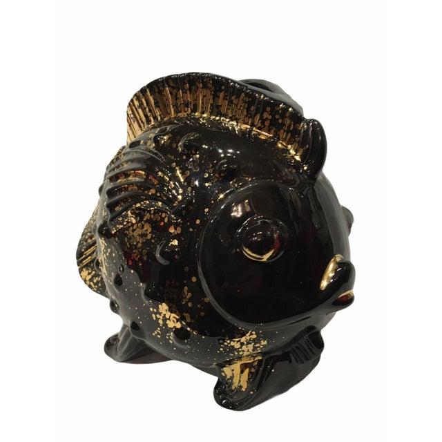 Ceramic Vintage Mid-Century Black Goldfish Planter For Sale - Image 7 of 13