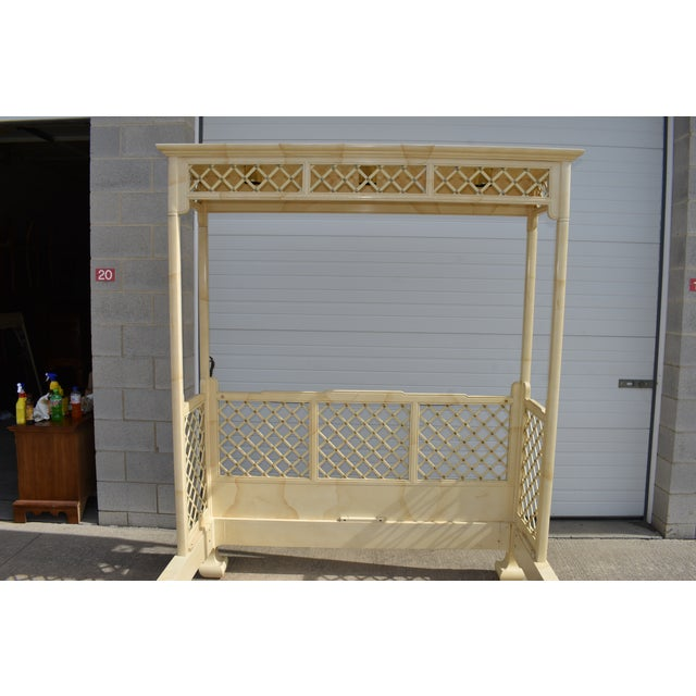 Henredon Folio 16 faux goatskin queen size bed frame with partial canopy. Absolutely beautiful statement piece. The canopy...