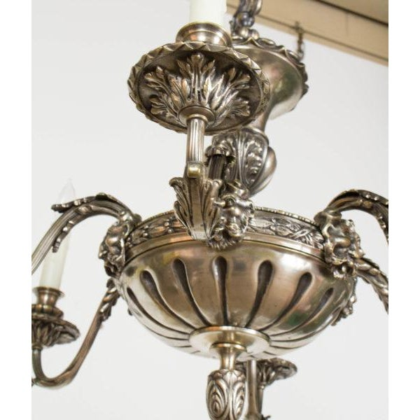Antique silver satyr 6 arm chandelier image 3 of 11
