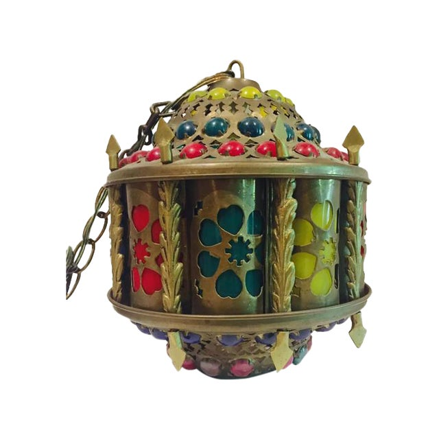 Mid-Century Brass Moroccan Jeweled Swag Light - Image 1 of 7