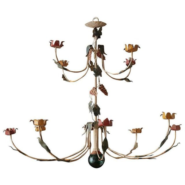 Rustic French Iron Twelve-Light Candle Chandelier For Sale - Image 13 of 13