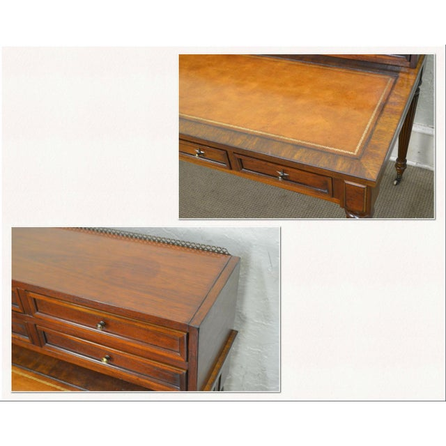 Hollywood Regency Drexel Heritage Covington Park Collection Regency Style Leather Top Mahogany Writing Desk (A) For Sale - Image 3 of 13