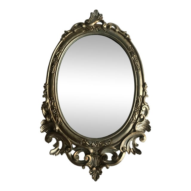 Antique Italian Baroque Gilted Scroll and Flower Oval Mirror - Image 1 of 8