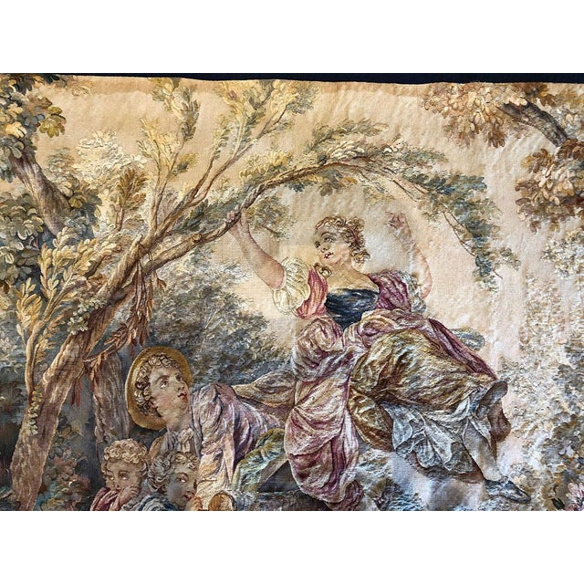 "Late 19th Century 19th Century Antique French Tapestry ""Romantic Pattern"" For Sale - Image 5 of 7"