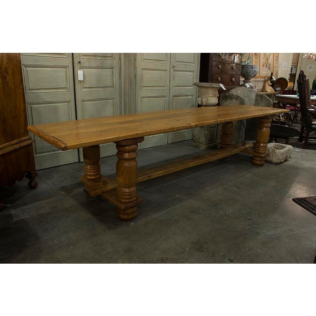 English Oak Plank Top Trestle Table For Sale In Greensboro - Image 6 of 6