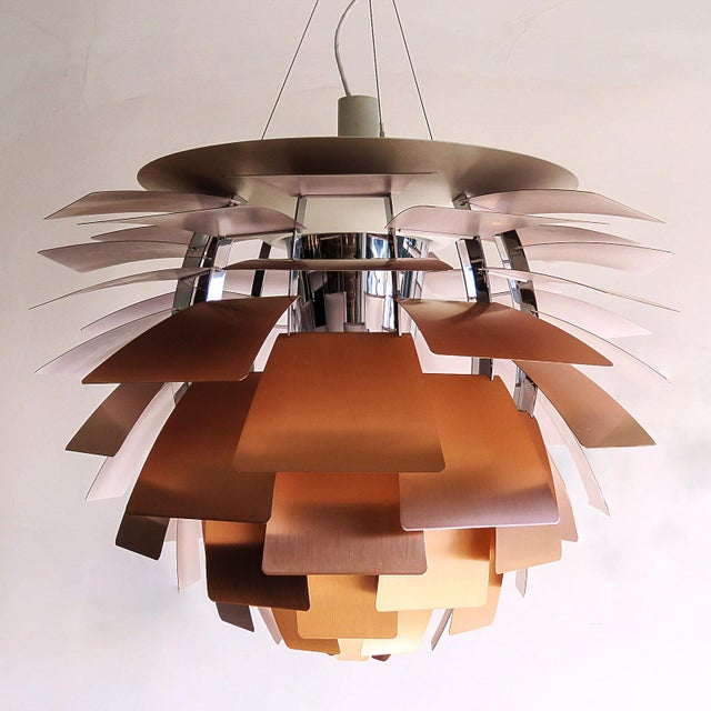 Large-scale iconic brushed copper hanging pendant lamp by Poul Henningsen, manufactured by Louis Poulsen, Denmark. PH...