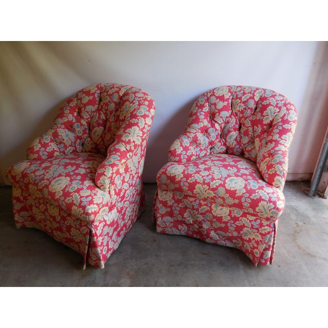 1950s Floral Accent Chairs - A Pair - Image 2 of 6