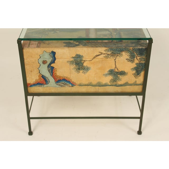Chinese Polychrome Decorated Pigskin Occasional Table For Sale - Image 4 of 13