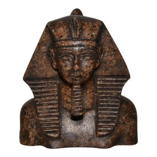 Carved Granite Pharaoh Sculpture For Sale
