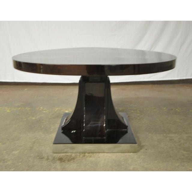 1930s Maurice Dufrene Modernist Rosewood Art Deco Coffee Table With Nickel Base For Sale - Image 5 of 7