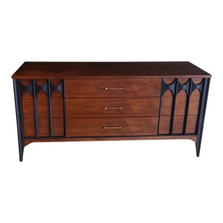 "Mid Century Long ""Perspecta"" Kent Coffey Walnut 9 Drawer Dresser Sideboard For Sale"