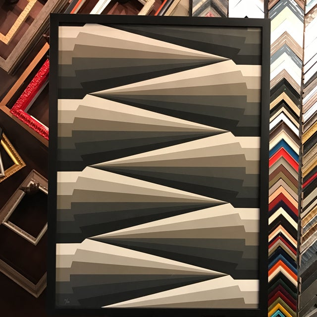 Framed Geometric Abstract Lithograph - Image 2 of 7