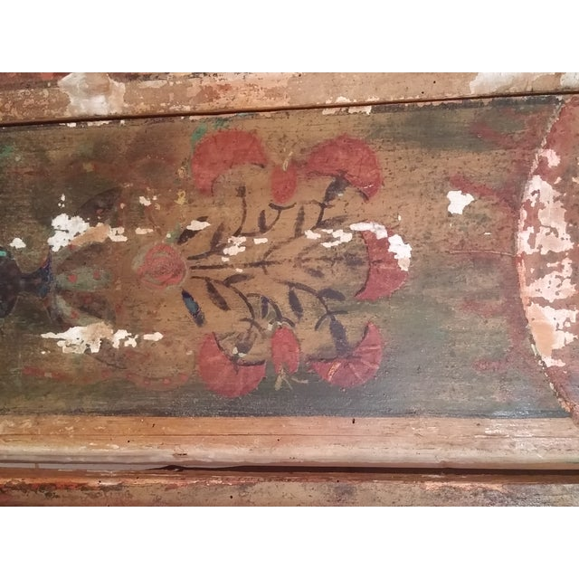 Antique Primitive Painted Red Headboard - Image 9 of 10