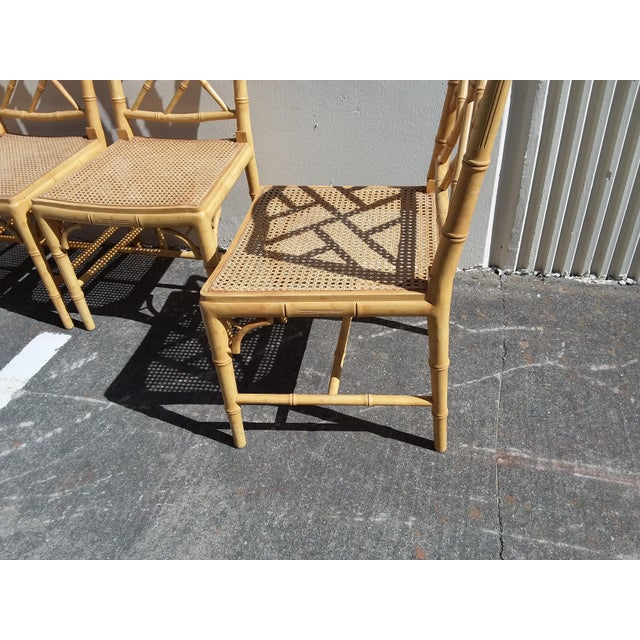 Caning Set of Four Faux Bamboo Carved Wood Chairs For Sale - Image 7 of 12